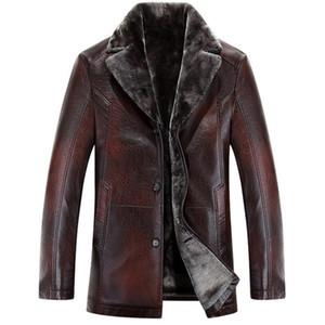 Homens Leather Jackets New Arrival Inverno Marca de veludo quente grossa motocicleta Negócios Casual Mens Leather Jackets Coats Plus Size M-5XL