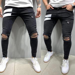 Новый Casual Mens Designer Jeans Fashion Black Ripped Hole Тощий карандаш брюки высокого качества джинсы для мужчин