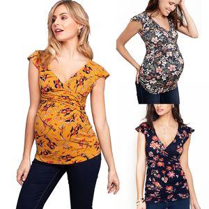 Impressão de maternidade grávida Enfermagem Blusas Cruz Amamentação Floral capuz apertado Top Vestuário Plus Size V Neck Voar mangas Shirts