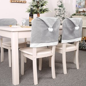 Christmas Decoration Non-woven Big Gray Hat Chair Cover Santa Claus Cap Chair Covers Xmas Banquet Party Seat Case Home Decoration
