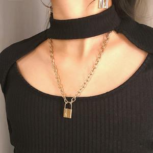 Collier Y pendentif Simple mignon collier longue Mode Bijoux Mme serrure Collier pendentif marée hommes Robe Up Étanche En Acier Inoxydable