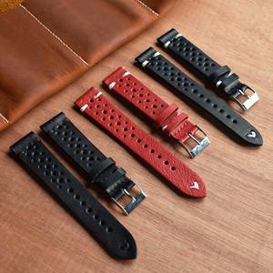 Onthelevel 18mm 19mm 20mm 22mm 24mm Montre avec bracelet en cuir rouge Porous Black Watch Band main Brochage Watchband #D CJ191225
