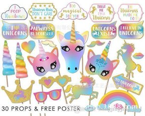 30PCS Glitter Unicorn Photo Booth Props Girl Birthday Party Supply Wedding SKY 2 styles photo booth BBA175 20set