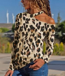 Sexy Womens Summer Designer Tops Slash Neck Ladies Leopard Print Clothing Long Sleeves Relaxed Casual Apparel
