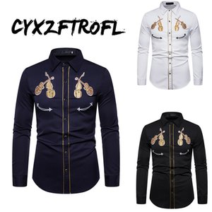 CYXZFTROFL 2020 Mens Fashion Western Cowboy Skull and Rose Embroidery Shirt Slim Fit Casual Long Sleeve Button Down Dress Shirts