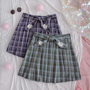 Women Plaid Pleated Skirt Girls Short Skirt Summer New High waist Small fresh Harajuku Daisy Embroidery A-line Mori Girl
