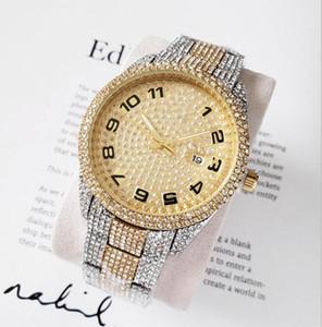 Мужские модные часы Роскошные дизайнерские алмазные часы со льдом из нержавеющей стали Bling кварцевый механизм партия наручные часы