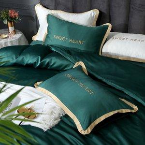 الفراش الملك شقة الملكة LIV-ESTHETE الأخضر التطريز مجموعة غطاء السرير ورقة الكتان الظلام الحرير لحاف الكبار ل double lcgwc