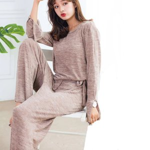 two piece set tracksuit women 2020 Autumn winter long-sleeved T shirt+pants 2 pieces set home suits knitted cotton loose pajamas