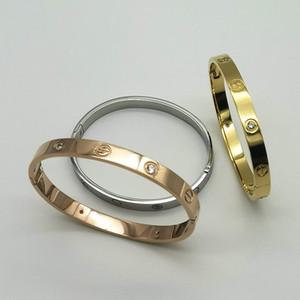 Дизайнер ювелирных изделий женщина браслет манжета бренд классических покрыли золото 18K 316L титана бриллиантового браслета унисекс пару браслета ювелирных изделия