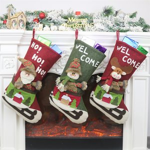 Meia do Natal Bordados de Santa do boneco de neve da rena 3D Applique Lareira Hanging Meias Decoração Doce Gift Bag JK1910