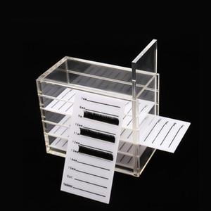5 camadas acrílico cílios caixa de armazenamento da composição de exibição Container Cílios Glue Pallet caso titular Alongamento de cílios caixa transparente