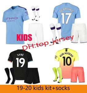 19 20 FC Manchester AGUERO MAHREZ JESUS DE BRUYNE MAN CITY jersey de fútbol kit para niños 2019 2020 SANE camiseta de fútbol para niños uniformes conjuntos + calcetines