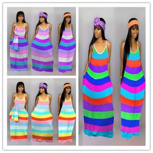 Vestido listrado meninas mangas Sexy lápis Bodycon vestidos tornozelo comprimento colorido do arco-íris mulheres vestidos de verão Saias Maxi Vestidos E22701