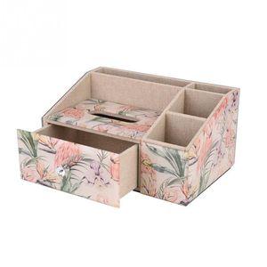 1Pcs Red Printing Pattern Tempered Glass Drawer Type Tissue Storage Case Box Gift Decoration