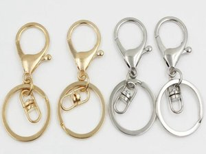 2018 Silver Gold Biger Lobster Clasp Tone Key Chains & Key Rings Round Split keychain Car Key Rings Blank Metal Keychains
