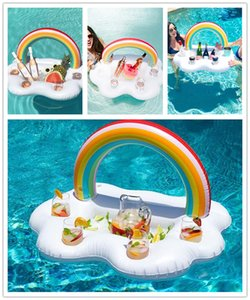 Gonfiabile Rainbow Clouds Drink Cup Holder Piscina Beverage Table Galleggiante Ice Pool Pool Galleggiante gonfiabile Beer Holder