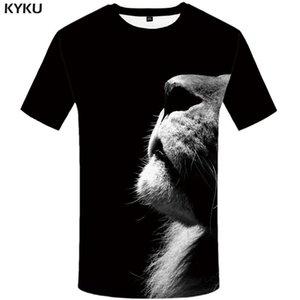 Лев футболка черные рубашки животных футболка одежда футболка плюс размер Мужчины человек повседневная прохладная японская футболка