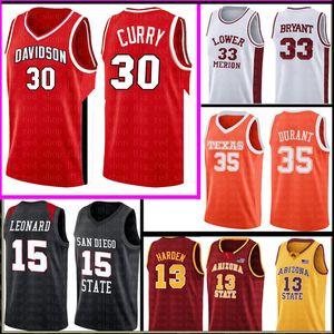 Stephen 30 Curry Mens Kevin 35 Durant Jersey NCAA Universidad Red White College Basketball usa al por mayor barato