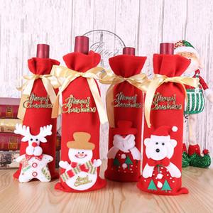 Çanta BH0201 TQQ Packaging Kırmızı Şarap Şişesi Kapağı Çanta Noel Dekorasyon Ev Partisi Şarap Şişeleri Çanta Noel Baba Noel Alkol Şişeleri