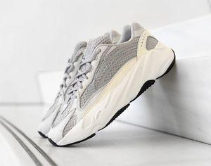Con la caja más nueva 700 V2 Static Running Shoes EF2829 Kanye West Basf blanco gris Athletic Sports Shoes Sneakers tamaño 36-45