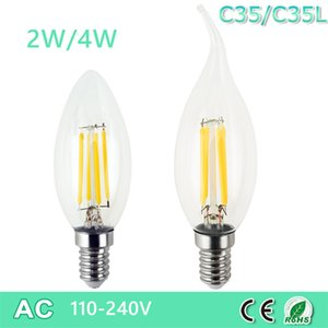 Dimmable LED Edison C35 C35L E14 LED Candle Light Filament Retro Clear Lamp 2W 4W 110V 220V Cold Warm White for Chandelier