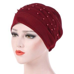 Femmes perles couleur unie embellissement perles Turban Foulard volanté musulman Chemo Cap