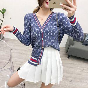 Automne nouveau chandail tricoté patchwork mode bande imprimé floral unique à manches longues boutonnage V-cou femmes conception manteau cardigan c