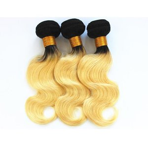 H A Blonde Color Human Hair Bundles Body Wave Malaysian Indian Brazilian Virgin Human Hair Weaves 3 Or 4 Bundles Color T1b  613 10 -26