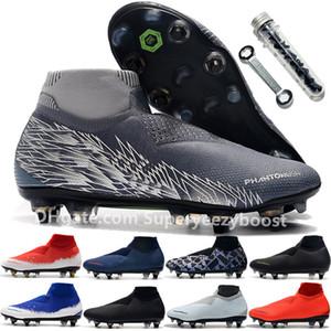 Qualidade superior Preto Lux Phantom VSN Elite DF SG UNLOTLOT Malha Chuteiras de futebol dos homens Jogo Sobre Peludo Cobrado Alta Tornozelo Meias de futebol sapatos