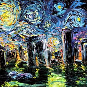 Tuval Ev Duvar Dekoru Palette Knife konusunda Boyama Gogh asla Testere Stonehenge Boyama El Dekoratif Sanat Resim Oil tarafından Boyalı