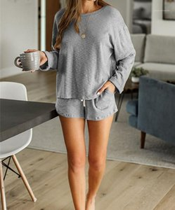 T-Shirts mit Shorts Nachtwäsche Frauen Solid Color DrawstringCasual Kleidung Frauen 2PCS Panelled Tracksuits Frühlings-Sommer-Designer Langarm