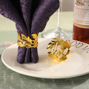 10pcs Fashion Leaf Napkin Ring Gold, Silver, Rose Gold Napkin Button Hotel Ring