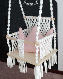 Дети Дети Качели Председатель Nordic Стиль гамака безопасности Бежевый Подвесной гамак кресло-кровать Одноместный Мебель Кресло Открытый Закрытый сад