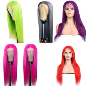 Pérou Cheveux Vierge 13x4 Lace Front Wigs Silky droite 100% cheveux humains Rose Violet Bleu Rouge 13 par 4 avant de dentelle perruque avec bébé cheveux