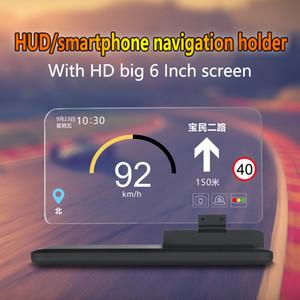 6 بوصة العالمي H6 السيارات هود رئيس متابعة العرض العارض الهاتف الذكي الملاحة لتحديد المواقع حامل هود لأي السيارات