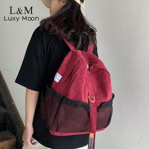 Donne Preppy Ragazze adolescenti Corduroy zaino della scuola di moda Zaini studenti Schoolbag Femminile Viaggi Zaino Mochila XA814H