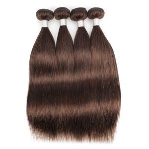 # 4 Mittelbraunes glattes Haar Bundle Deals Brasilianisches reines Menschenhaar spinnt 3 oder 4 Bundles 12-24 Zoll 100% Remy Menschenhaarverlängerungen