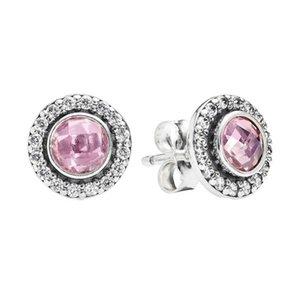 Новый Аутентичные Real 925 стерлингового серебра розовый камень CZ Pandora серьги 290553PCZ DIY Jewelrynew