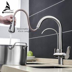 Cucina Rubinetti torneira para cozinha de Parede Filtro gru per la cucina L'acqua del rubinetto a tre vie Lavello Miscelatore rubinetto della cucina WF-0195 T200424