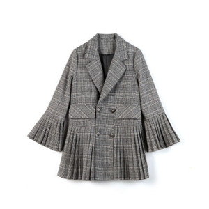 Women Fashion Plaid Suit Coat Seasons Pleated Skirt Bell sleeve Female Vintage Lapel V-Neck Patchwork Blazers