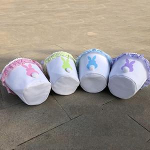 Enfants poignée Paniers de lapin avec des points imprimés Ruffle peluche Tails Cadeaux Bonbons Sacs à main de Pâques Sacs de rangement pour E1 de Party Supplies