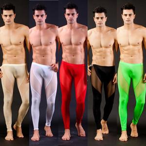 Мужчины Mesh прозрачные сетки Sexy Лонг Джонс Нижнее белье Леггинсы Брюки Колготки Повседневные Длинные Трусы мужские брюки отвесно S-L