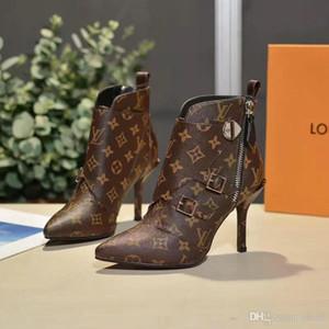 Botas de tobillo Matchmake Diseñador de moda Botas de tacón alto Lona de monograma de cuero genuino Correas cruzadas Dedos en punta Botas de moda para mujer