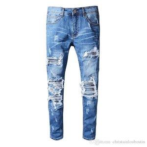 2019 Mens Straight Slim Elastic Denim Fit Biker Jeans Pants Long Pants Stylish Straight Slim Fit Jeans