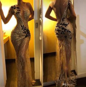 2019 Elegant Gold Pailletten Meerjungfrau Abendkleider Sheer One Sleeve Langarm Spitze Applique Sweep Zug Formelle Party Prom Kleider BC0954