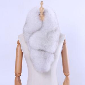 2018 New Fashion Genuine Fox Fur Donna Inverno Naturale Sciarpa di Pelliccia Sciarpe Fazzoletto da collo Vera Pelliccia Silenziatore Lady Wraps Con Clip