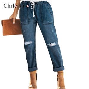 Chrleisure Yüksek Bel Kot Kadın Kadın Siyah sıkıntılı İçin Denim Artı boyutu Kadınlar Streetwear Sevgilisi Ripped Jeans