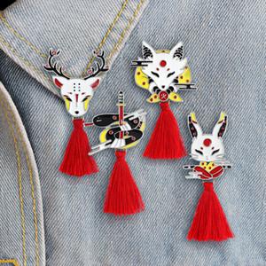 Vintage animal en alliage Tassel Broche japonaise Ninja Lapin de Feu Fox Serpent Kendo sika Pin émail Sac à dos Badge Amis Cadeaux