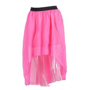 Donne Minigonne nuovo colore irregolare di modo allentato casuale solido Underskirts Pizzo Tulle femminile chiffon Mesh puro pannello esterno della spiaggia